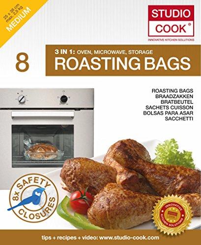 Studio Cook Bratbeutel 3 in 1, Braten, Dampfgaren & Aufbewahren, Inhalt 8 STK, Größe Medium 25 x 38 cm, bis zu max. 2,5kg MIKROWELLE GEEIGNET