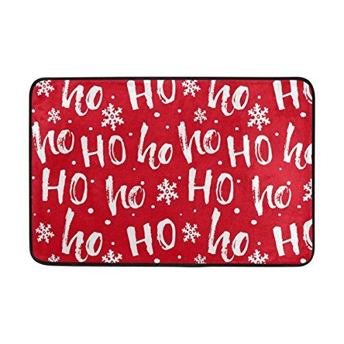 JSTEL HoHoHo Papá Noel Navidad Felpudo Lavable Interior/Exterior jardín Oficina Felpudo, Cocina Comedor Pasillo...