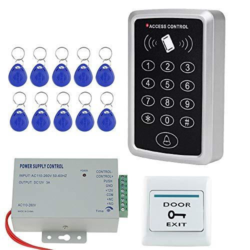 NN99 Zutrittskontrollsystem-Kit RFID-Kartenleser mit Netzteil + Türausgangsknopf + 10 Stück 125 kHz Keyfobs Keine elektrische Schlösser