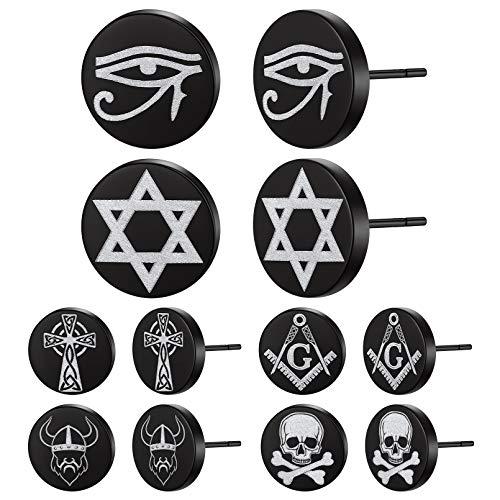 Pendientes Negros Religiosos de Hombres Cráneo Hexagrama Masonería Soldados Vikingos Ojo de Horus Cruz Celta 6 Pares Aretes Acero Inoxidable 316L