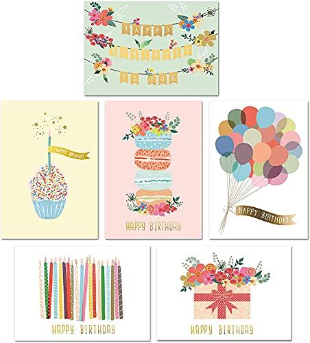 Gold Foil Bulk Birthday Cards Assortment – 48pc Bulk Happy Birthday Card...