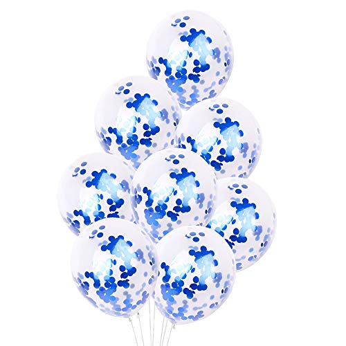 Blue Confetti Balloons 12 Inches(20-Pack), Clear Balloons with Metallic Confetti Pre-Filled, Birthday Balloon for Boys Party Supplies and Decoration, wedding, Bridal Showe and Baby Shower