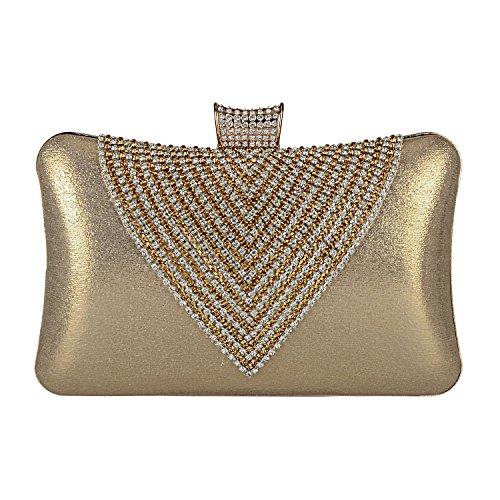 EULovelyPrice Borsa da sera per donna borsa da donna con strass perline (d'oro)
