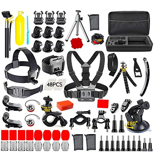 120-in-1 Action Camera Accessories Kit for GoPro Hero 9 8 7 6 5 4 3+ 3, Black/Silver/Session/SJ4000/SJ5000/SJ6000 for DBPOWER AKASO Xiao Yi APEMAN Floating Hand Grip/Tripod