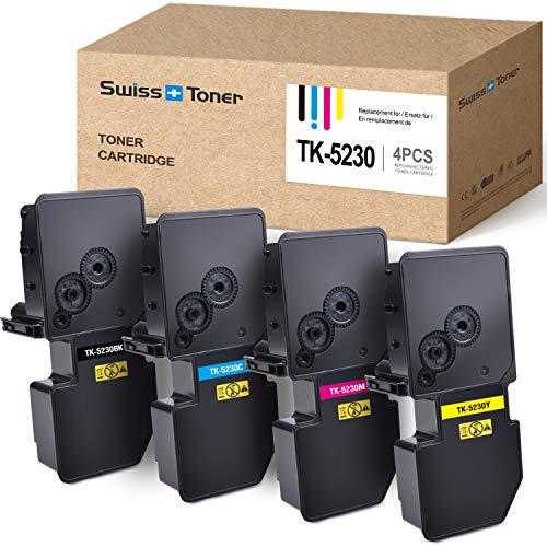 SWISS TONER 1 Set TK5230 TK-5230 MultiPaquete Cartuchos de tóner Compatible para Kyocera ECOSYS M5521cdw M5521cdn P5021cdw P5021cdn Impresora