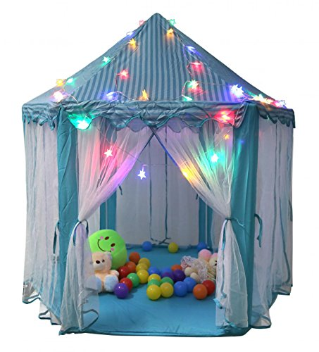 """TIENO 55"""" x 53"""" Children Indoor Play Tent Princess Castle Playhouse for kids with Star Light"""
