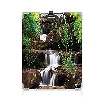 クリップボード 用箋挟 クロス貼 A4 短辺とじ 滝の装飾 フォルダーボードフォルダーライティングボード (2個)小さな植物が長い植物茶色の白と緑に囲まれた岩の階段に流れる