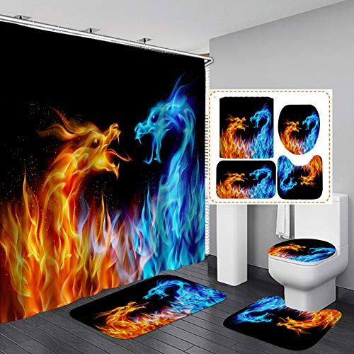 Fashion_Man 4PCS/Set Magic Fire Dragon Shower Curtain, Powerful Brave Dragon Medieval Mythology Men Bathroom Decor, Waterproof Black Fabric Bath Curtain, Non-Slip Bath Rugs Toilet Carpet, Ice & Fire