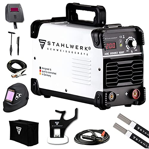 STAHLWERK ARC 200 ST IGBT Vollausstattung - Schweißgerät DC MMA/E-Hand Welder mit echten 200 Ampere sehr kompakt, weiß, 7 Jahre Herstellergarantie