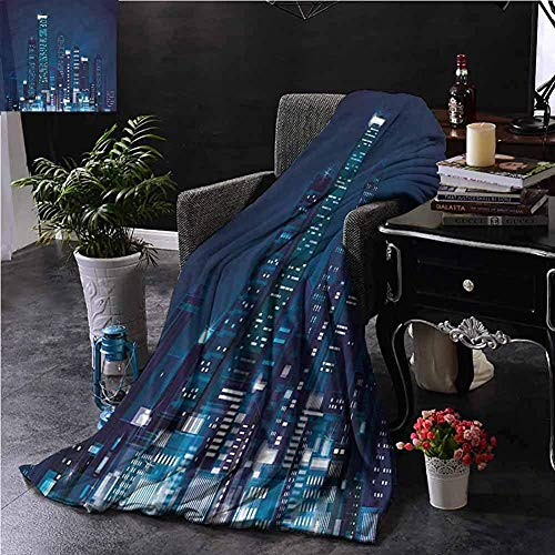 Living Room/Bedroom Blankets, For Bed Couch Chair Super Soft Large Plush Blankets für Bett, Couch Or Travel, Modern/Night View Of Metropolis, 50 Zoll x 40