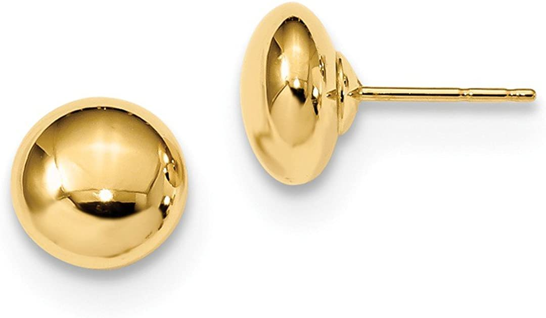 14k Yellow Gold Button Post Stud Earrings Ball Fine Jewelry For Women Gifts For Her