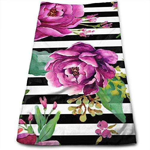 Tyueu Toallas de baño Pink Sunrise de Rayas Blancas y Negras, 100% algodón, Ultra Suaves y absorbentes, Toallas de baño, Gran Toalla de Ducha, Toallas de Hotel y Toallas de Gimnasio