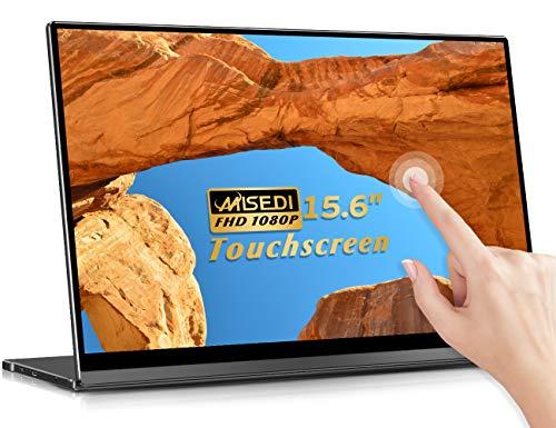MISEDI 15.6インチ モバイルモニター モバイルディスプレイ タッチパネル搭載 自動回転対応 薄型 狭額 USB Type-C/mini HDMI/PD PSE認証済み 3年保証付