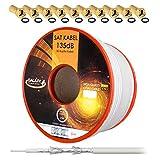 135dB Cable coaxial SAT de 25 m Cable coaxial de cobre puro Cable de...