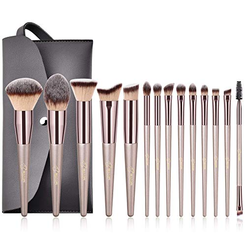 BESTOPE Make up Pinsel Set Pinselset mit Ledertasche Bestes Geschenk Make up Pinsel Kosmetik Foundation Blending Brush für Reise Eyeliner Gesicht Pulver Pinsel Pinsel Kit (Champaign gold)