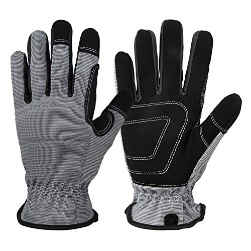 Work Gloves for Men Women: Synthetic Leather Utility Glove Durable for Yard Warehouse Light-Duty Working - Large Gray