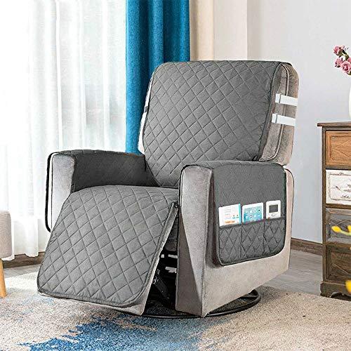 Upgrade-Auflage für Liegestuhl, mit 2 weißen Spanngurten, 6 Seitentaschen und verstellbaren Schnallen, Schutz für Sessel, Möbel, frei von jeglichen Flecken oder Haustierfell (grau)