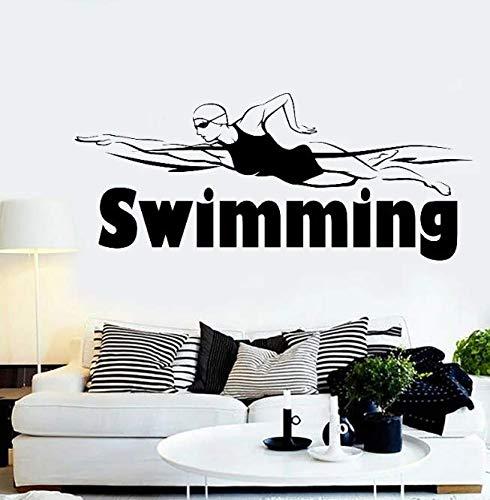 Piscina deporte natación arte pared calcomanía vinilo nadador dormitorio decoración pegatinas de pared extraíble impermeable decoración de la casa Mural 99 * 42Cm