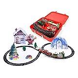Set di trenini natalizi per bambini, trenino elettrico artigianale, consegna espressa di Babbo Natale con luci e suono realistico