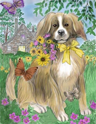 Pintura por números para adultos, perros y mariposas en las flores, kits de pintura digital al óleo para adultos y niños, cumpleaños, bodas, decoración de alojamiento, regalos