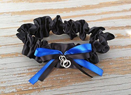 Black Royal Blue Satin Wedding Bridal Keepsake Garter - Handcuff Charm