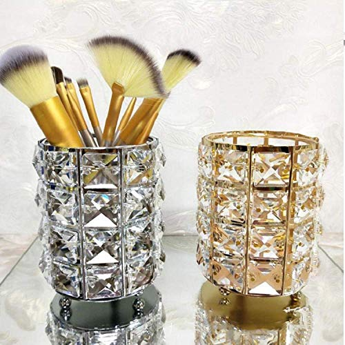 ZHENGYU Maquillage Brosse De Rangement en Cristal Maquillage Brosse Baril en Métal Crayon À Sourcils Peigne Boîte De Rangement Cosmétique,Silver