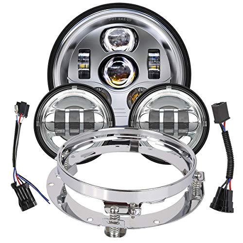TRUCKMALL 7 inch LED Headlight Fog Passing Lights DOT Kit Ring Motorcycle for Harley Davidson Touring Road King Ultra Classic Electra Street Glide Tri Cvo Heritage Softail Slim Deluxe Fatboy Chrome
