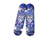 Skateboard complet 78,7 x 20,3 cm pour 7 couches de planche en érable - Planche standard pour garçons filles adultes débutants (Bleu)
