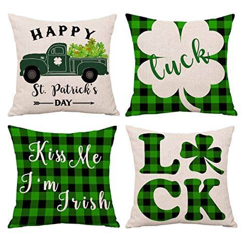 Shamrock St Patricks Day Throw Pillow Cover 18x18 Green Holiday Decorative Cushion Covers Indoor and Outdoor Set of 4 for Party, Living Room, Bedroom and Car (St Patrick's Day)