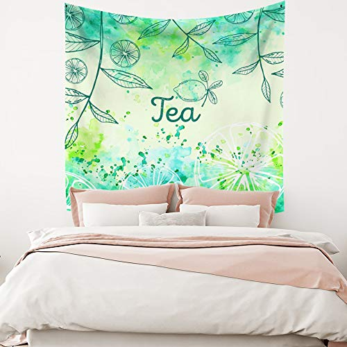 Miueapera 30x30 inch verse natuurlijke tapisserie polyester stof thee groene bladeren citroen achtergrond muur opknoping woonaccessoires voor plafond cover venster Kid kamer cadeau voor vriend