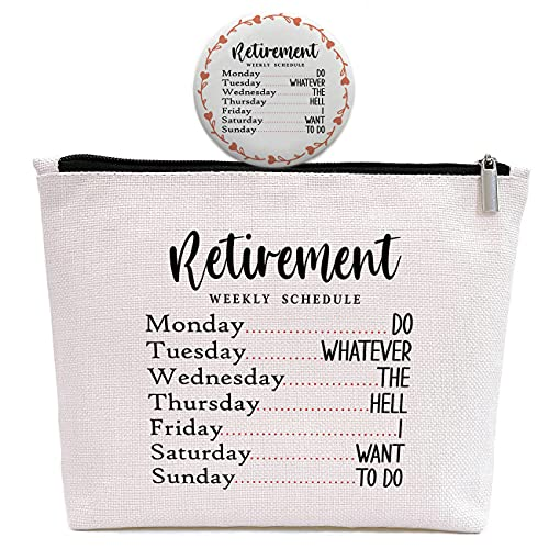 Retirement Weekly Schedule Gift -Makeup Bag with a Cute Mirror -Retirement Gifts for Women,Sister,Aunt,Friends,Wife,Mom,Grandma ,Boss,Colleagues