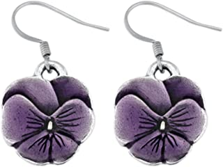 DANFORTH - Pansy/Purple Earrings - 3/4 Inch - Surgical Steel Wires - Handcrafted - Made in USA