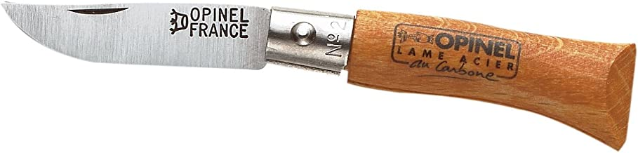 Opinel No2 Bechwood Handle Carbon Steel Folding Knife, 3.5 Centimeter Blade