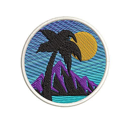 Super Rad Island Sun Palm Tree Scene Embroidered Premium Patch Iron-On or Sew-On Embroidery Applique - Nautical Sea Ocean Creatures Beach - Fun Novelty Badge Biker Emblem - Vacation Tourist Souvenir