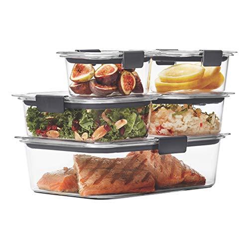 Contenedor de almacenamiento de alimentos Rubbermaid Brilliance, plástico sin BPA, Mini, 0,5 tazas, 4unidades, transparente, Transparente