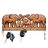 WILLART Key Holder for The Home, Hand Crafted Elephant Design Key Hooks for Wall, Key Hangers, Key Rack, Vintage Design Home Decor (15.5 x 6 x 1 Inch)