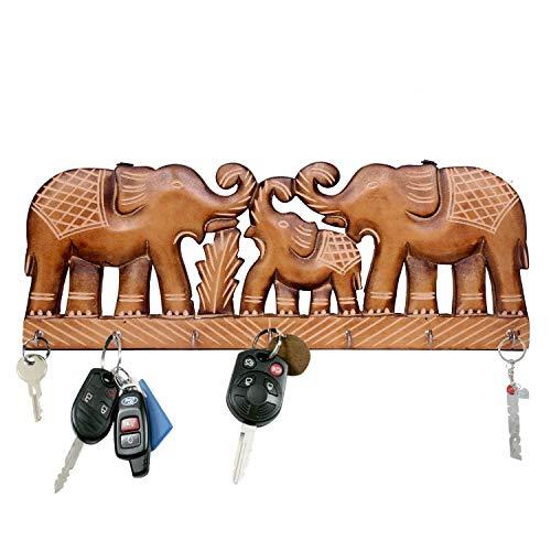 WILLART - Llavero madera colgar pared, diseño elefante