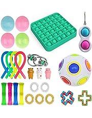 Set di giocattoli sensoriali con palline antistress, alleviano l'ansia, per bambini e adulti, confezione con biglie con design a rete e giocattoli da premere e schiacciare, viola, verde
