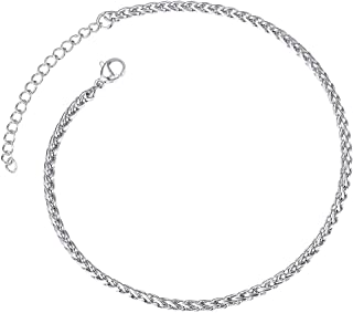 Or Blanc 14/K Corde C/œur Cha/îne Cheville 25,4/cm