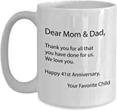 41st Anniversary Gifts for Parents Coffee Mug - 41 Year Wedding Day Gift Ideas for Dad, Mom, Uncle, Aunt, Inlaws, Grandpa, Grandma, Older Couple, Grandparents from Kids - 15oz