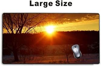 Mousepp - لوحة ماوس كبيرة للالعاب، لوحة ماوس ممتدة مع قاعدة مطاطية مضادة للانزلاق للوحة مفاتيح كمبيوتر محمولة، حصيرة الحواف المخيطة - بعد غروب الشمس من عاصفة الثلج