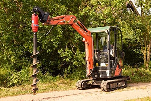 Erdbohrer für Minibagger mit oder ohne Bohrantrieb Zaunbau Bohrschnecke MS01 MS03 (Erdbohrer 250mmØ mit Bohrantrieb X3500)