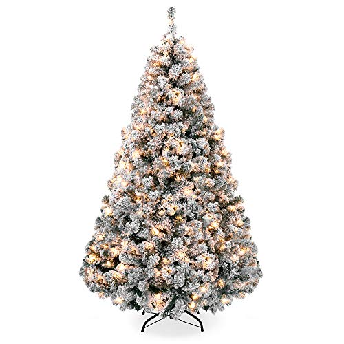 Best Choice Products 7.5ft Pre-Lit Snow Flocked Hinged Artificial Christmas Pine Tree Holiday Decor w/ 550 Warm White Lights