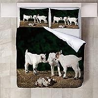 羽毛掛け布団カバー子羊 2つの枕カバー付き3Dプリント寝具セットキルトケース子供ティーンマイクロファイバージッパークロージャー大人キッズキング-230x220cm