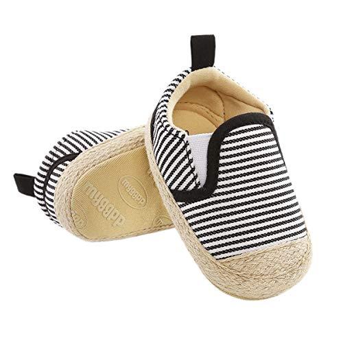 DEBAIJIA Lauflernschuhe Baby Segeltuchschuhe 0-6M Kinder Turnschuhe Jungen Leichtes Leinen Schuhe Mädchen Weiche Sohle 17 EU Schwarz Weiß (0-6)