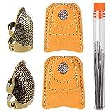 5 Piezas Dedales de Costura de Cobre, Anillos Dedal de Coser de Metal Bronce Ajustable, Protectores...