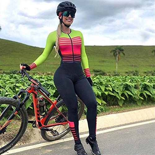 Damen Radanzug Triathlon Overall Anzug Radtrikot Set Langarm Hosen Damen Bike Sport Enge Laufhose (Color : 4, Size : Medium)