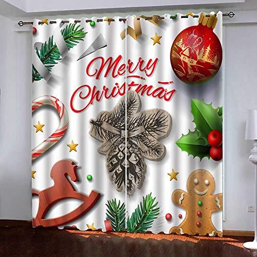 Beydodo Cortina Comedor Poliéster 2 Cortinas Dormitorio Opaca Merry Christmas Decoración de Navideño Blanco Rojo Verde Cortinas264x160CM