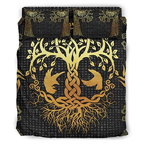 Wandlovers Juego de ropa de cama de 4 piezas, diseño vikingo, árbol de la vida, Fathurk, para todo el año, funda nórdica y funda de almohada, 228 x 228 cm, color blanco