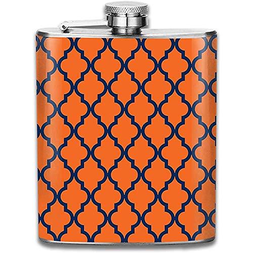 Kundengebundenes marokkanisches Muster & acirc;? Orange u. Marine-Blau-Edelstahl-Wein-Flasche, personalisiertes Flaschen-Geschenk